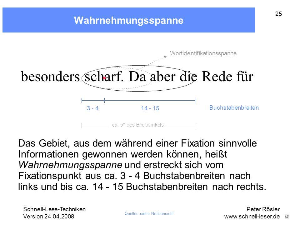 Schnell-Lese-Techniken Version 24.04.2008 Peter Rösler www.schnell-leser.de 25 Wahrnehmungsspanne besonders scharf. Da aber die Rede für 14 - 153 - 4