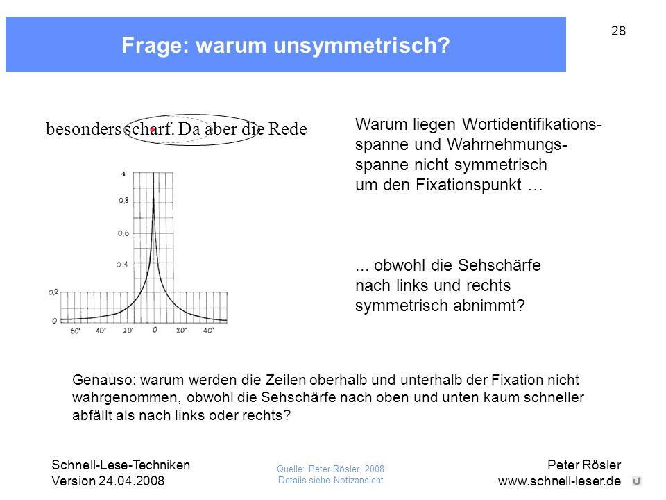 Schnell-Lese-Techniken Version 24.04.2008 Peter Rösler www.schnell-leser.de 28 Frage: warum unsymmetrisch? besonders scharf. Da aber die Rede Genauso: