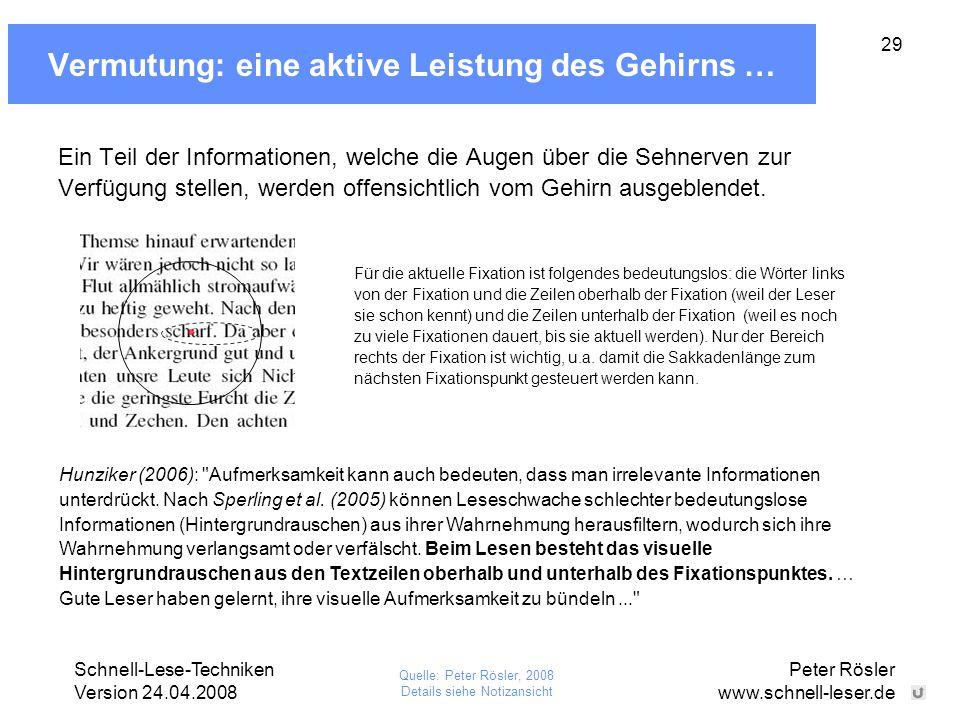 Schnell-Lese-Techniken Version 24.04.2008 Peter Rösler www.schnell-leser.de 29 Vermutung: eine aktive Leistung des Gehirns … Ein Teil der Informatione