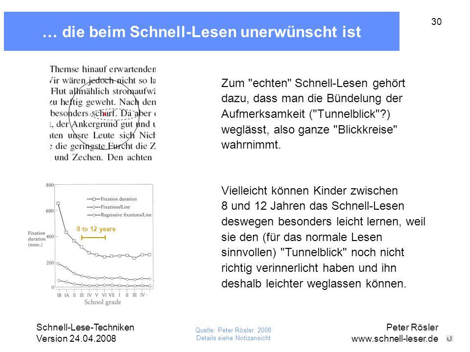 Schnell-Lese-Techniken Version 24.04.2008 Peter Rösler www.schnell-leser.de 30 … die beim Schnell-Lesen unerwünscht ist Zum