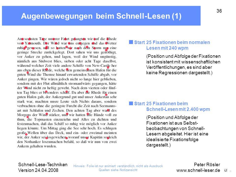 Schnell-Lese-Techniken Version 24.04.2008 Peter Rösler www.schnell-leser.de 36 Augenbewegungen beim Schnell-Lesen (1) Start 25 Fixationen beim Schnell