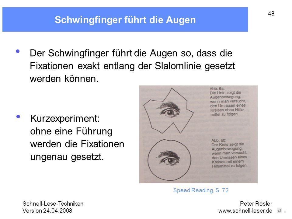 Schnell-Lese-Techniken Version 24.04.2008 Peter Rösler www.schnell-leser.de 48 Schwingfinger führt die Augen Der Schwingfinger führt die Augen so, das