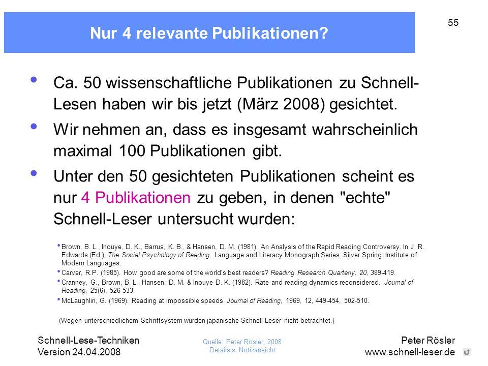 Schnell-Lese-Techniken Version 24.04.2008 Peter Rösler www.schnell-leser.de 55 Nur 4 relevante Publikationen? Ca. 50 wissenschaftliche Publikationen z