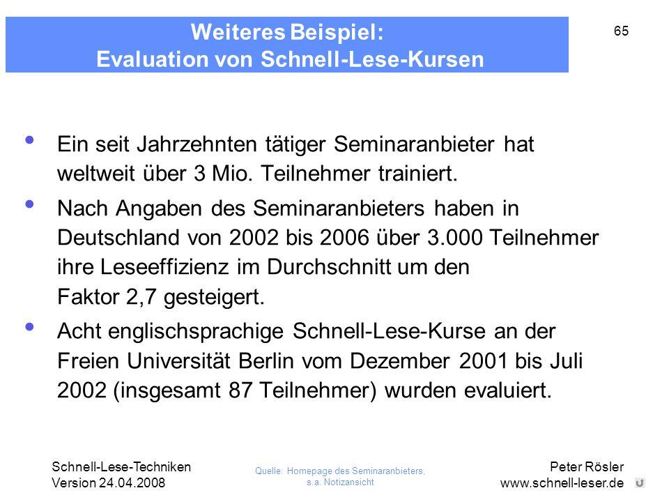 Schnell-Lese-Techniken Version 24.04.2008 Peter Rösler www.schnell-leser.de 65 Weiteres Beispiel: Evaluation von Schnell-Lese-Kursen Ein seit Jahrzehn