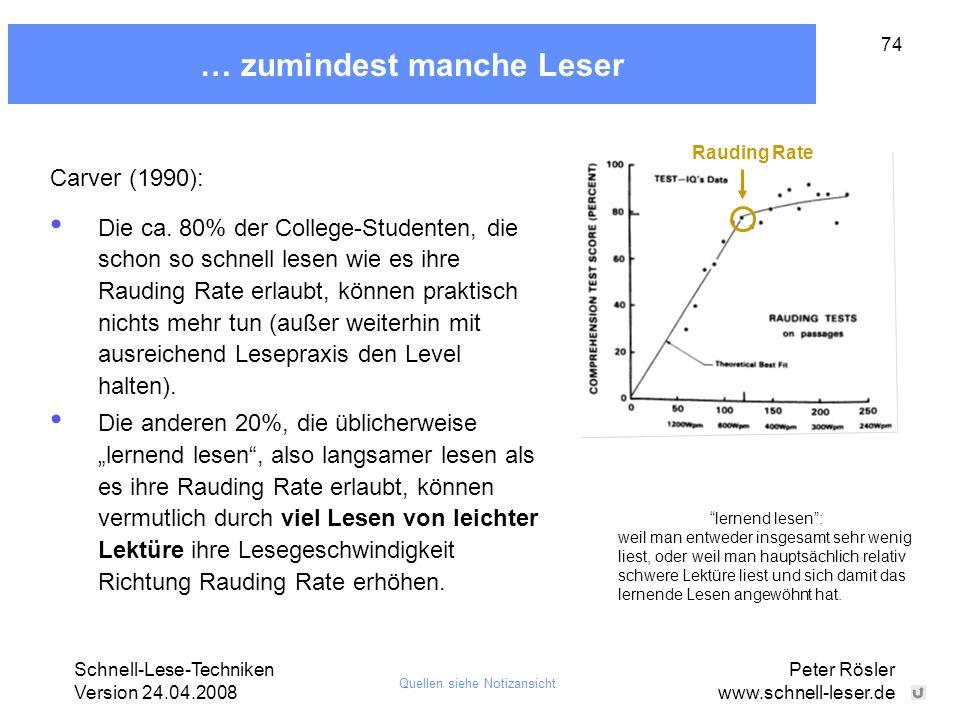 Schnell-Lese-Techniken Version 24.04.2008 Peter Rösler www.schnell-leser.de 74 … zumindest manche Leser Carver (1990): Die ca. 80% der College-Student