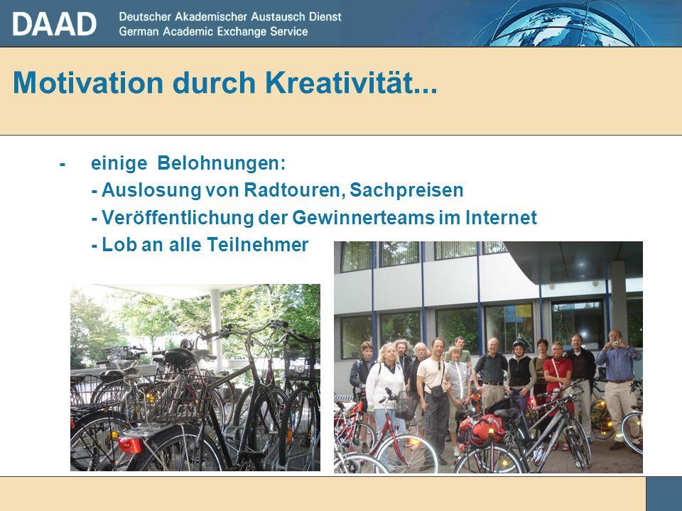Motivation durch Kreativität... - einige Belohnungen: - Auslosung von Radtouren, Sachpreisen - Veröffentlichung der Gewinnerteams im Internet - Lob an