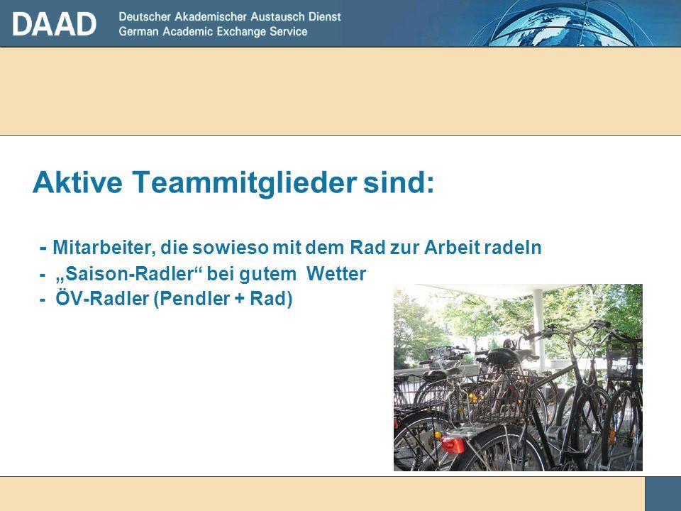 """Aktive Teammitglieder sind: - Mitarbeiter, die sowieso mit dem Rad zur Arbeit radeln - """"Saison-Radler"""" bei gutem Wetter - ÖV-Radler (Pendler + Rad)"""