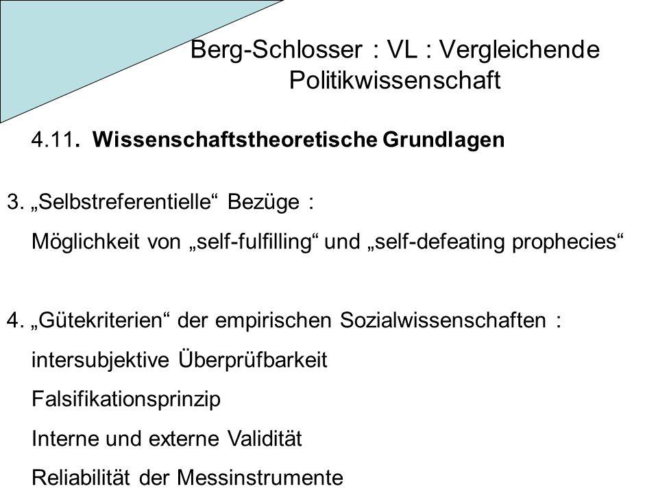 """Berg-Schlosser : VL : Vergleichende Politikwissenschaft 4.11. Wissenschaftstheoretische Grundlagen 3. """"Selbstreferentielle"""" Bezüge : Möglichkeit von """""""