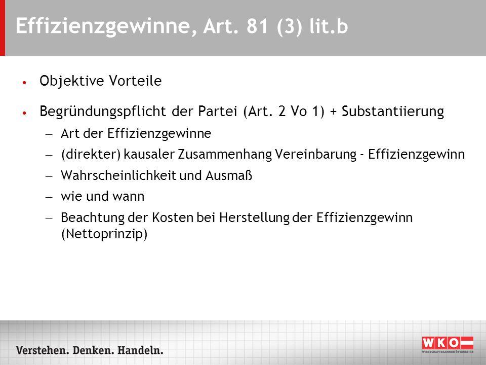 Effizienzgewinne, Art.81 (3) lit.b Objektive Vorteile Begründungspflicht der Partei (Art.