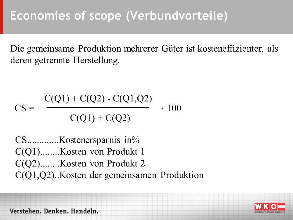 Economies of scope (Verbundvorteile) Die gemeinsame Produktion mehrerer Güter ist kosteneffizienter, als deren getrennte Herstellung.