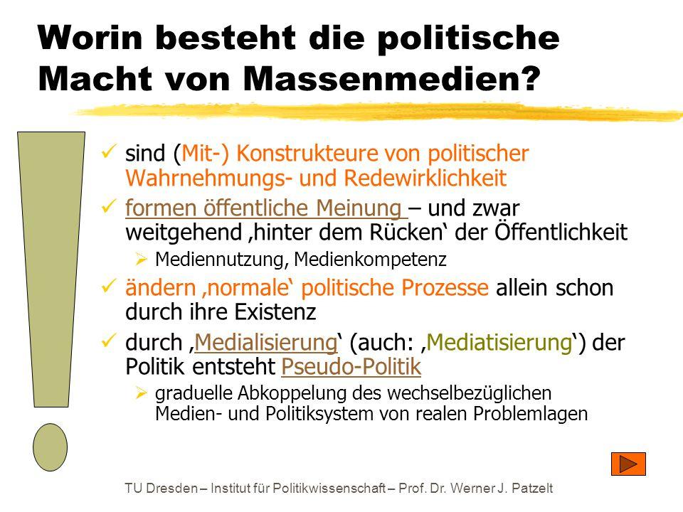 TU Dresden – Institut für Politikwissenschaft – Prof. Dr. Werner J. Patzelt Worin besteht die politische Macht von Massenmedien? sind (Mit-) Konstrukt