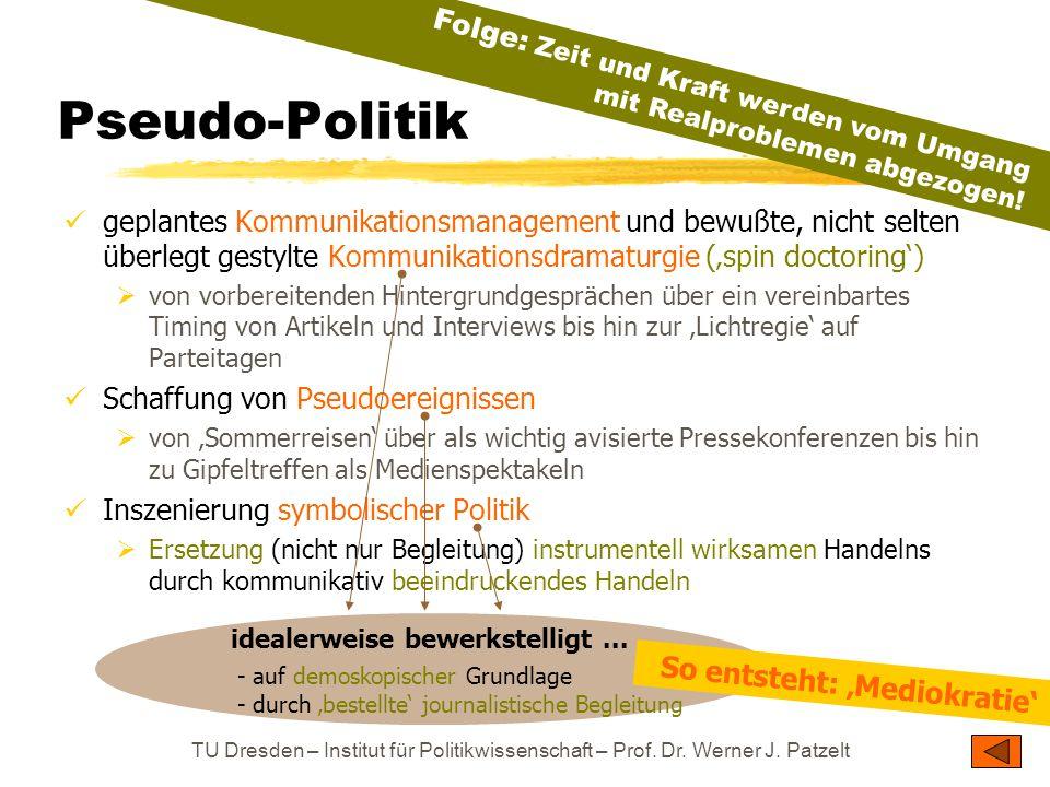 TU Dresden – Institut für Politikwissenschaft – Prof. Dr. Werner J. Patzelt Pseudo-Politik geplantes Kommunikationsmanagement und bewußte, nicht selte