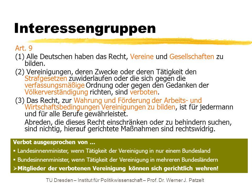 TU Dresden – Institut für Politikwissenschaft – Prof. Dr. Werner J. Patzelt Interessengruppen Art. 9 (1) Alle Deutschen haben das Recht, Vereine und G