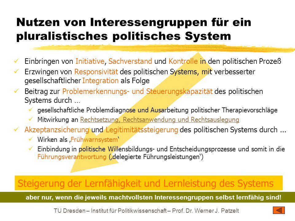 TU Dresden – Institut für Politikwissenschaft – Prof. Dr. Werner J. Patzelt Nutzen von Interessengruppen für ein pluralistisches politisches System Ei
