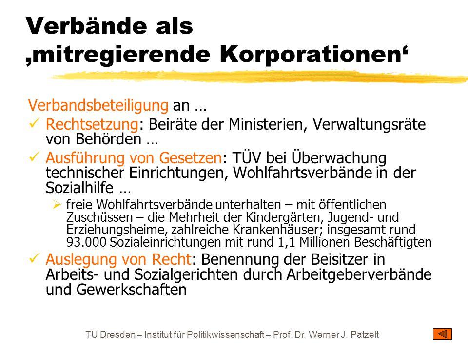 TU Dresden – Institut für Politikwissenschaft – Prof. Dr. Werner J. Patzelt Verbände als 'mitregierende Korporationen' Verbandsbeteiligung an … Rechts