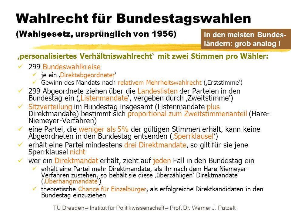 TU Dresden – Institut für Politikwissenschaft – Prof. Dr. Werner J. Patzelt Wahlrecht für Bundestagswahlen (Wahlgesetz, ursprünglich von 1956) 'person