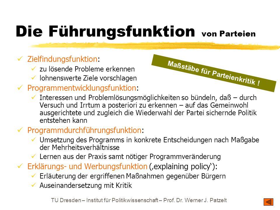 TU Dresden – Institut für Politikwissenschaft – Prof. Dr. Werner J. Patzelt Die Führungsfunktion von Parteien Zielfindungsfunktion: zu lösende Problem