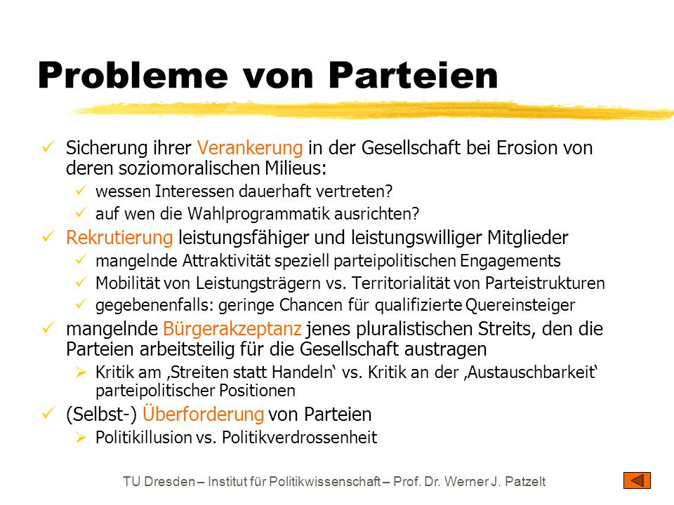 TU Dresden – Institut für Politikwissenschaft – Prof. Dr. Werner J. Patzelt Probleme von Parteien Sicherung ihrer Verankerung in der Gesellschaft bei