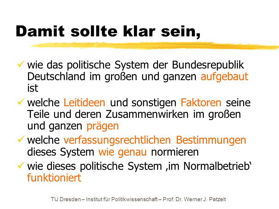 TU Dresden – Institut für Politikwissenschaft – Prof. Dr. Werner J. Patzelt Damit sollte klar sein, wie das politische System der Bundesrepublik Deuts