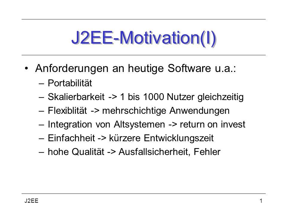 J2EE1 J2EE-Motivation(I) Anforderungen an heutige Software u.a.: –Portabilität –Skalierbarkeit -> 1 bis 1000 Nutzer gleichzeitig –Flexiblität -> mehrschichtige Anwendungen –Integration von Altsystemen -> return on invest –Einfachheit -> kürzere Entwicklungszeit –hohe Qualität -> Ausfallsicherheit, Fehler