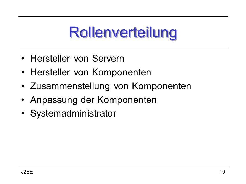 J2EE10 Rollenverteilung Hersteller von Servern Hersteller von Komponenten Zusammenstellung von Komponenten Anpassung der Komponenten Systemadministrator