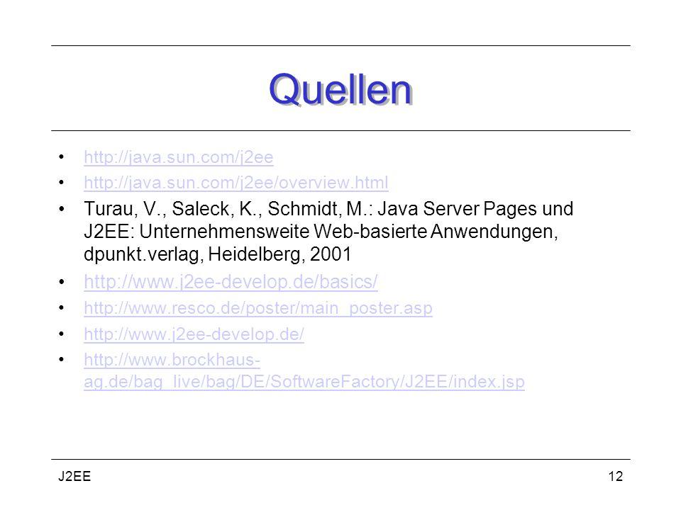 J2EE12 Quellen http://java.sun.com/j2ee http://java.sun.com/j2ee/overview.html Turau, V., Saleck, K., Schmidt, M.: Java Server Pages und J2EE: Unternehmensweite Web-basierte Anwendungen, dpunkt.verlag, Heidelberg, 2001 http://www.j2ee-develop.de/basics/ http://www.resco.de/poster/main_poster.asp http://www.j2ee-develop.de/ http://www.brockhaus- ag.de/bag_live/bag/DE/SoftwareFactory/J2EE/index.jsphttp://www.brockhaus- ag.de/bag_live/bag/DE/SoftwareFactory/J2EE/index.jsp
