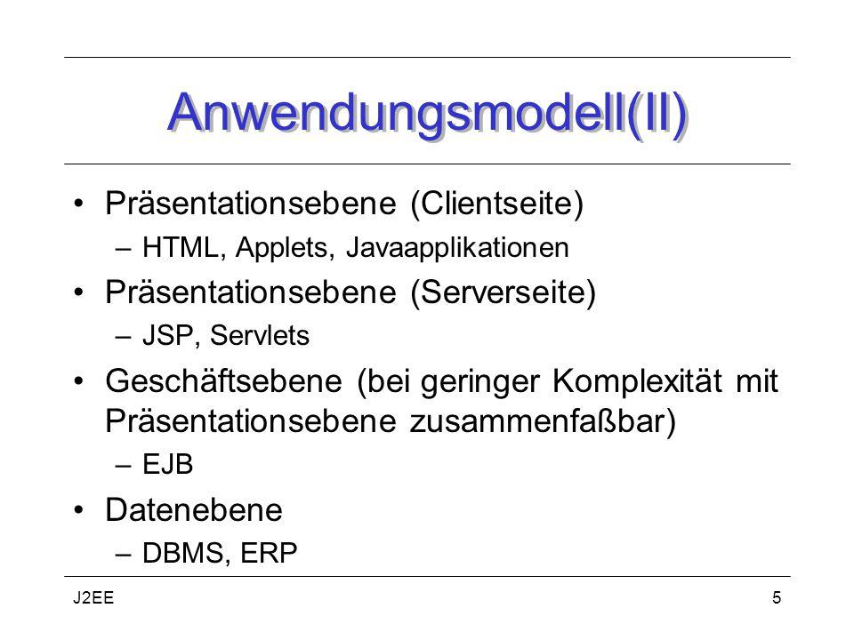 J2EE5 Anwendungsmodell(II) Präsentationsebene (Clientseite) –HTML, Applets, Javaapplikationen Präsentationsebene (Serverseite) –JSP, Servlets Geschäftsebene (bei geringer Komplexität mit Präsentationsebene zusammenfaßbar) –EJB Datenebene –DBMS, ERP