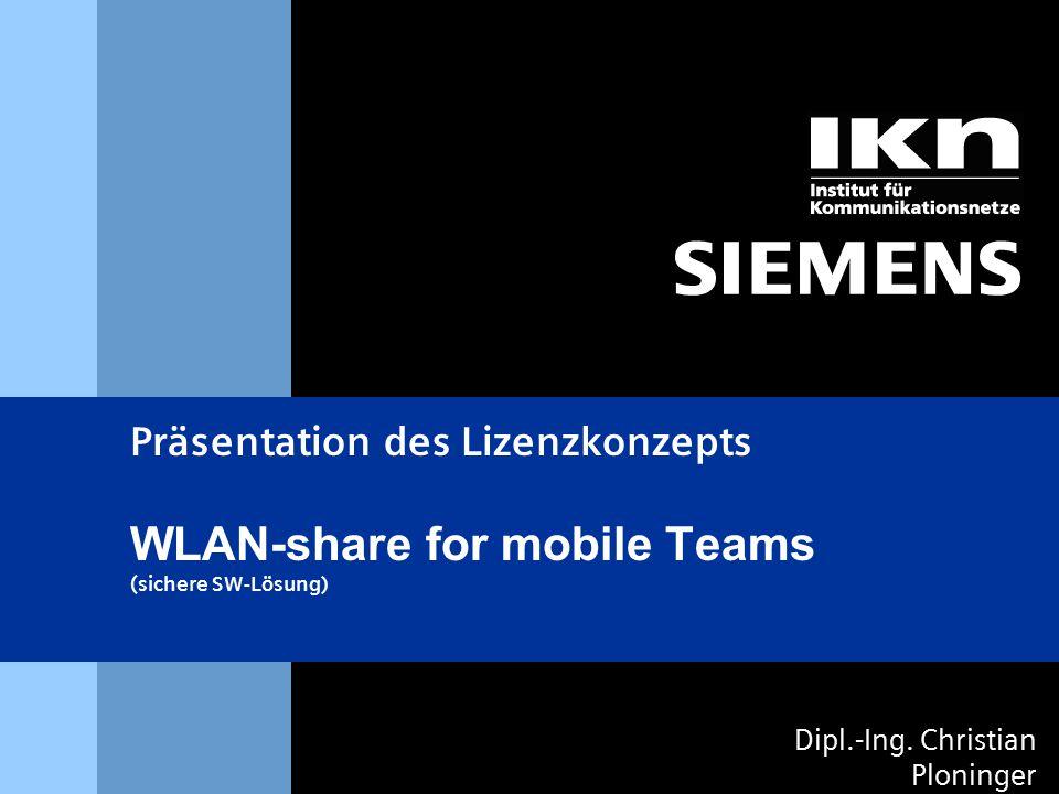 s & 2 DI Christian Ploninger  Einflußfaktoren  Lizenzkonzept WLAN  Home Edition  Enterprise Licences  Diskussion Inhaltsüberblick