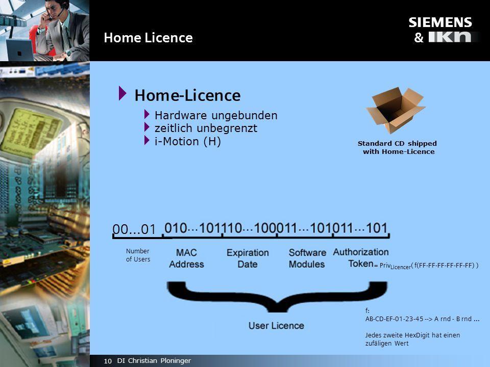 s & 10 DI Christian Ploninger Home Licence  Home-Licence  Hardware ungebunden  zeitlich unbegrenzt  i-Motion (H) Standard CD shipped with Home-Licence 00...01 Number of Users = Priv Licencer ( f(FF-FF-FF-FF-FF-FF) ) f: AB-CD-EF-01-23-45 --> A rnd - B rnd...