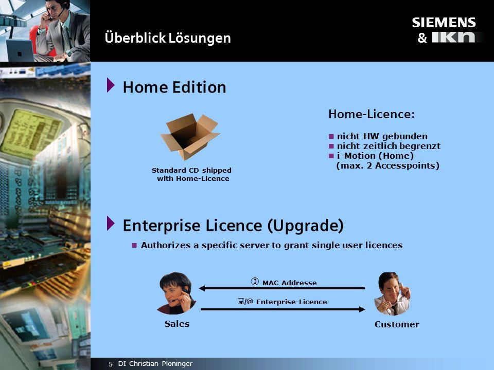 s & 5 DI Christian Ploninger  Home Edition  Enterprise Licence (Upgrade) Überblick Lösungen Home-Licence: nicht HW gebunden nicht zeitlich begrenzt i-Motion (Home) (max.