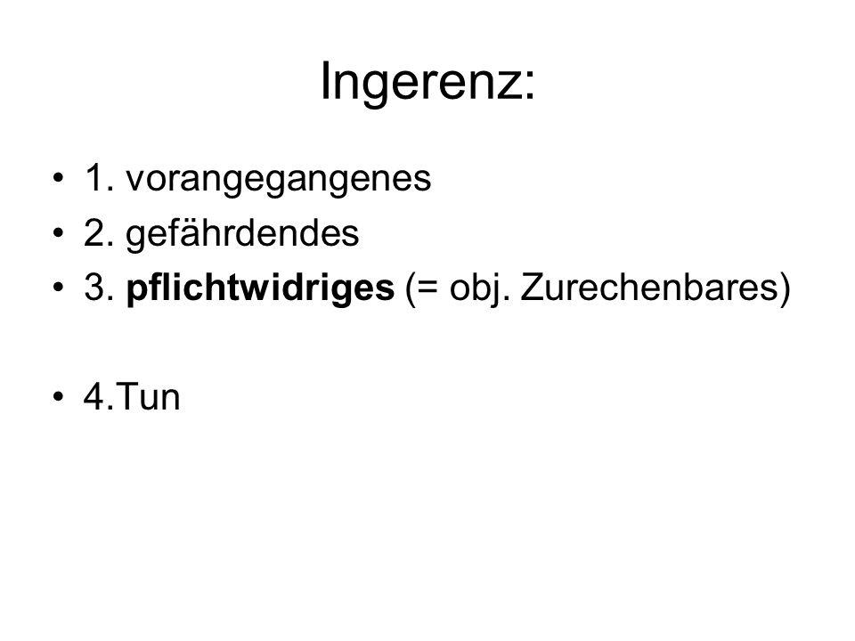 Ingerenz: 1. vorangegangenes 2. gefährdendes 3. pflichtwidriges (= obj. Zurechenbares) 4.Tun