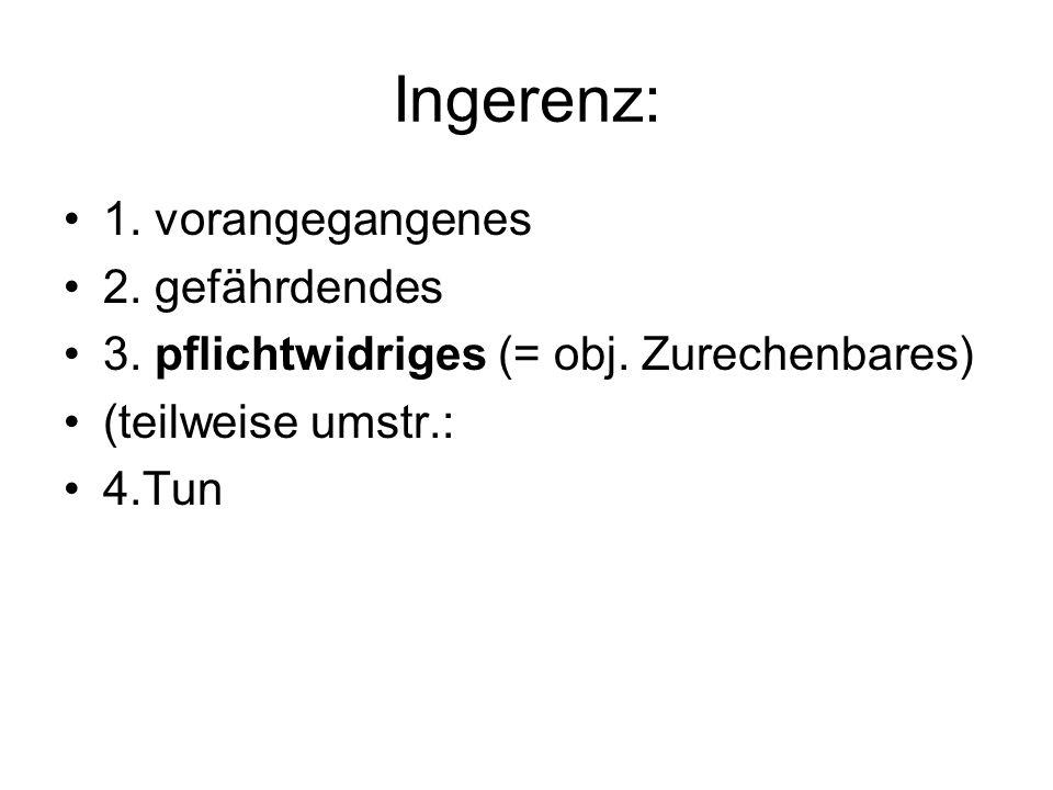 Ingerenz: 1. vorangegangenes 2. gefährdendes 3. pflichtwidriges (= obj.