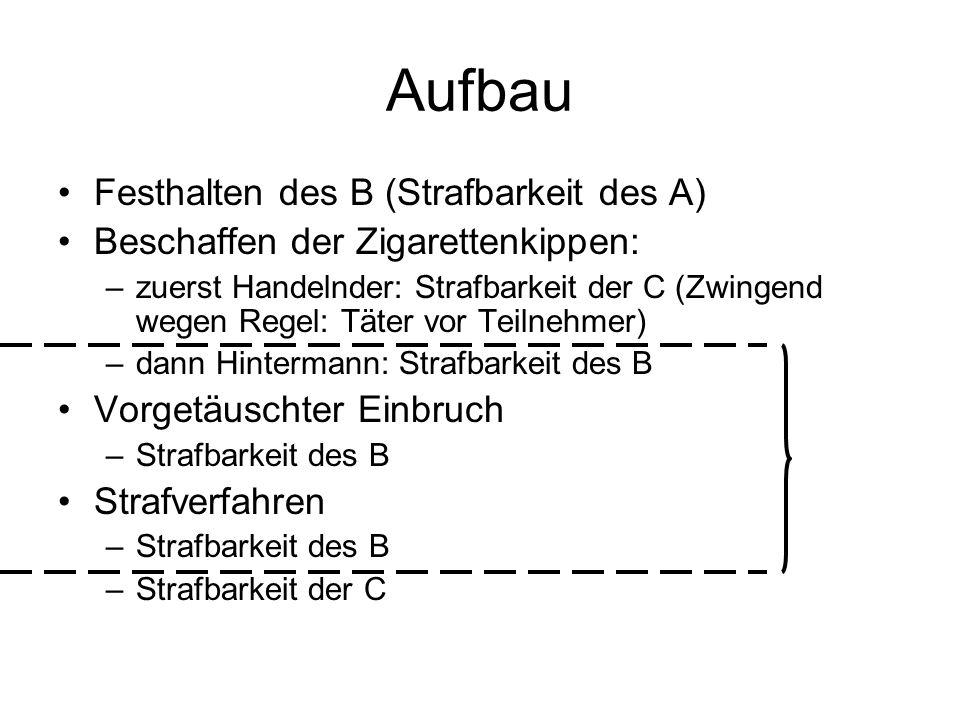 Aufbau I) Strafbarkeit des A II) Strafbarkeit der C (zwingend: Täter vo Teilnehmer) III) Strafbarkeit des B IV) Strafbarkeit der C (Schweigen)