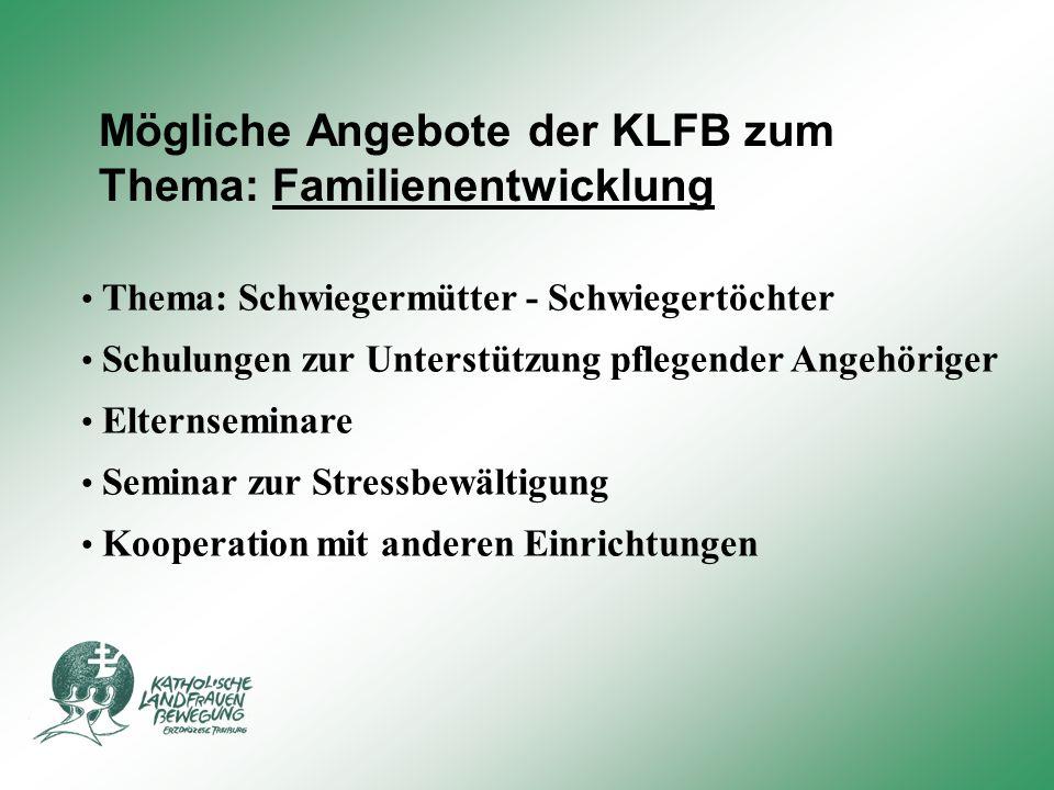 Mögliche Angebote der KLFB zum Thema: Familienentwicklung Thema: Schwiegermütter - Schwiegertöchter Seminar zur Stressbewältigung Schulungen zur Unter
