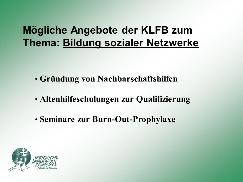 Mögliche Angebote der KLFB zum Thema: Bildung sozialer Netzwerke Gründung von Nachbarschaftshilfen Altenhilfeschulungen zur Qualifizierung Seminare zur Burn-Out-Prophylaxe