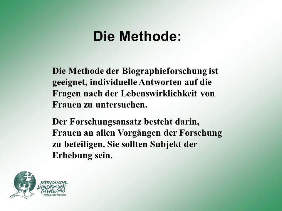 Die Methode: Die Methode der Biographieforschung ist geeignet, individuelle Antworten auf die Fragen nach der Lebenswirklichkeit von Frauen zu untersuchen.