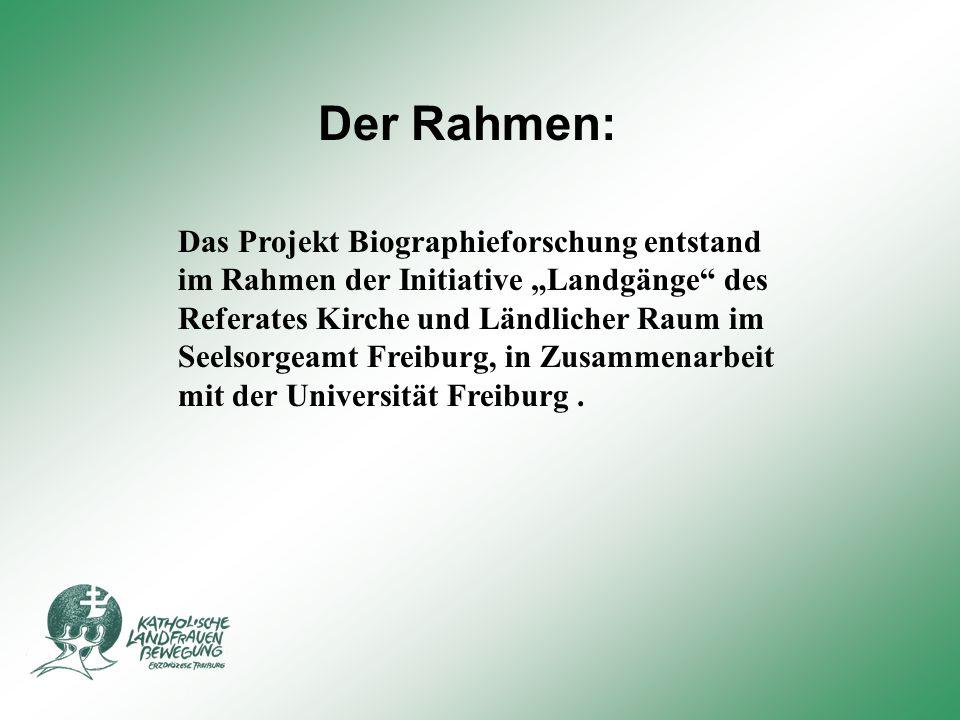 """Der Rahmen: Das Projekt Biographieforschung entstand im Rahmen der Initiative """"Landgänge des Referates Kirche und Ländlicher Raum im Seelsorgeamt Freiburg, in Zusammenarbeit mit der Universität Freiburg."""