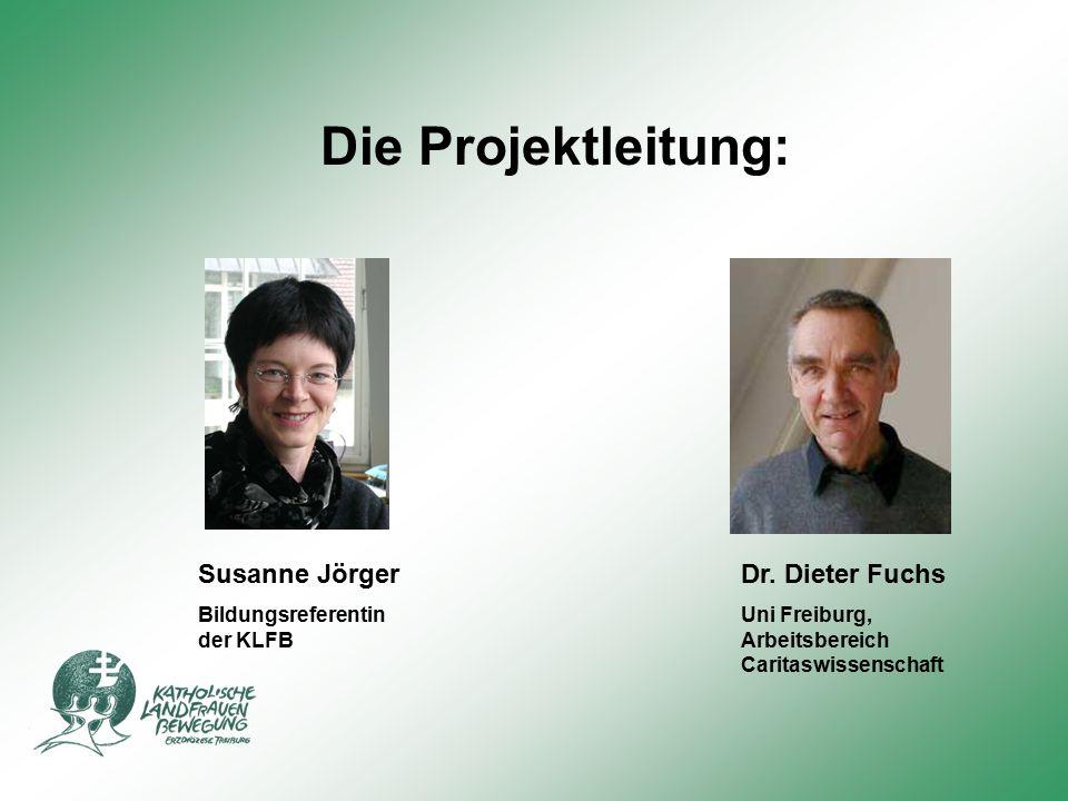Die Projektleitung: Dr. Dieter Fuchs Uni Freiburg, Arbeitsbereich Caritaswissenschaft Susanne Jörger Bildungsreferentin der KLFB
