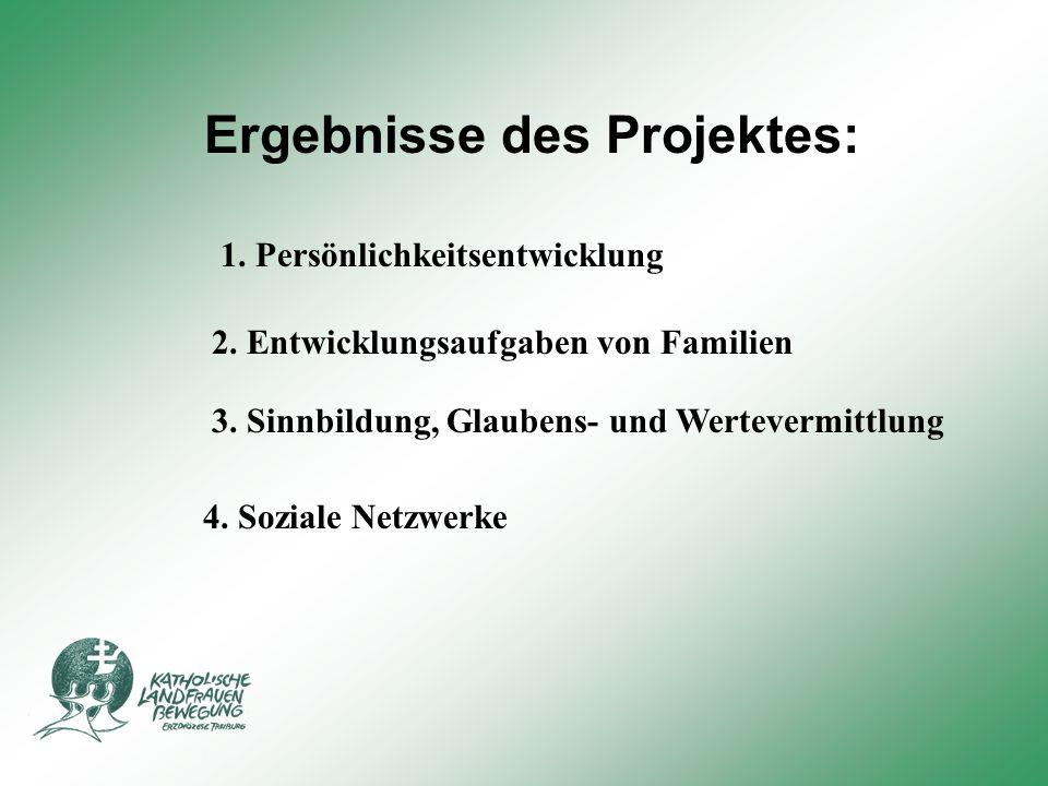 Ergebnisse des Projektes: 1.Persönlichkeitsentwicklung 2.