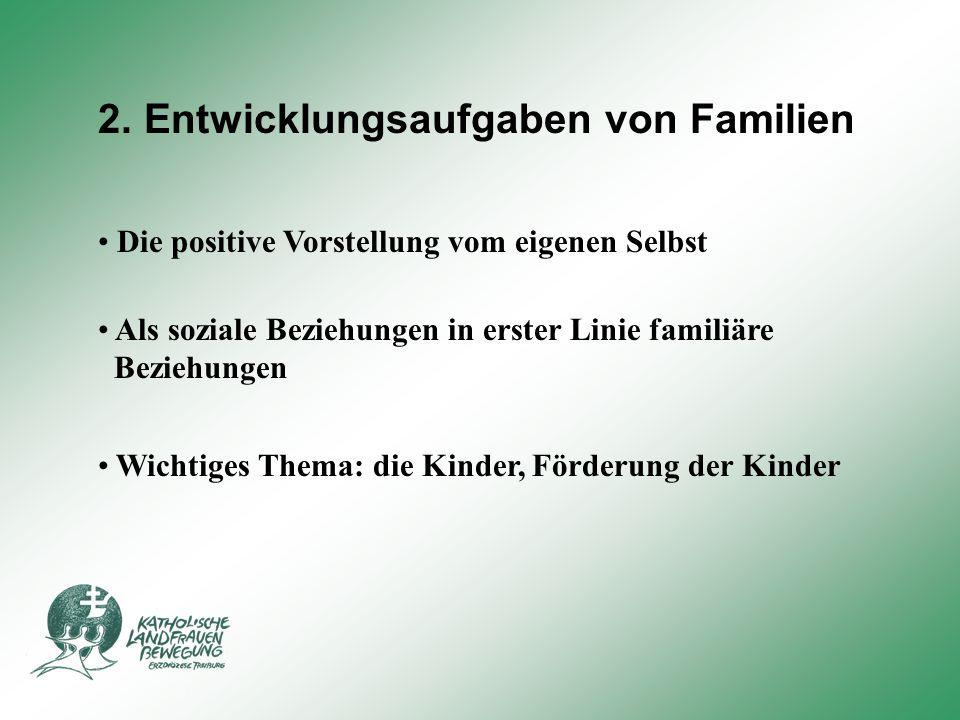 2. Entwicklungsaufgaben von Familien Die positive Vorstellung vom eigenen Selbst Als soziale Beziehungen in erster Linie familiäre Beziehungen Wichtig