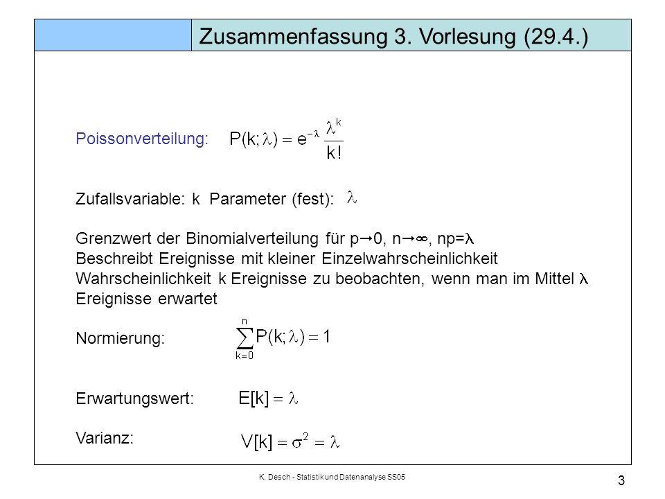 K. Desch - Statistik und Datenanalyse SS05 3 Poissonverteilung: Zufallsvariable: k Parameter (fest): Grenzwert der Binomialverteilung für p  0, n  