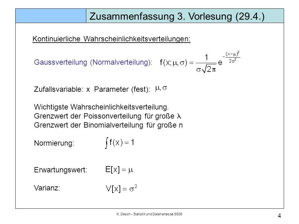 K. Desch - Statistik und Datenanalyse SS05 4 Gaussverteilung (Normalverteilung): Zufallsvariable: x Parameter (fest): Wichtigste Wahrscheinlichkeitsve