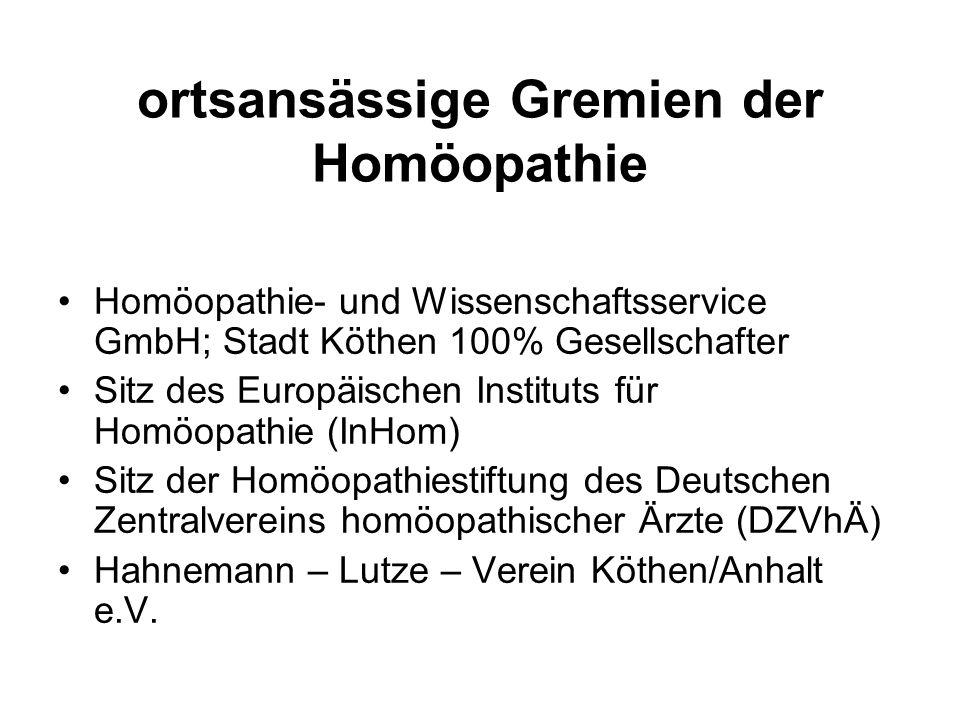 IBA – Thema Homöopathie konkrete Ergebnisse der Stadt Köthen 1.