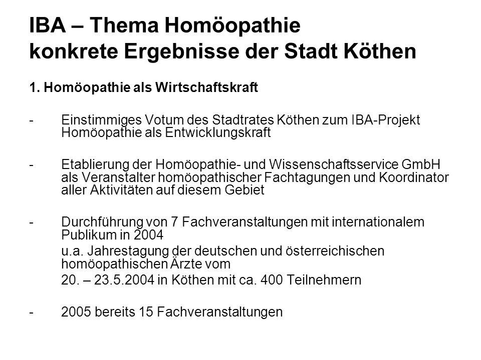 IBA – Thema Homöopathie konkrete Ergebnisse der Stadt Köthen Zentraler Festakt des DZVhÄ zum 250.