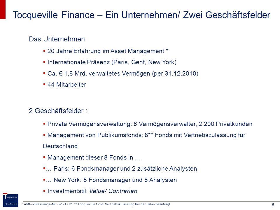 6 Aktien Europa (Management in Paris)  TOCQUEVILLE VALUE EUROPE  Multicap-Fonds für die Anlage in eine Auswahl unterbewerteter europäischer Aktien  ITHAQUE  Für die Anlage in eine Auswahl unterbewerteter europäischer Large Caps Aktien USA (Management in New York)  TOCQUEVILLE VALUE AMERIQUE  Für die Anlage in eine Auswahl unterbewerteter amerikanischer Aktien Mischfonds (Management in Paris)  OLYMPE PATRIMOINE  Für eine risikoärmere Anlage (Standard-Asset-Allocation: 70% Zinspapiere, 30% Aktien) Themenfonds (Management in New York)  TOCQUEVILLE GOLD *  Investment in Aktien von Unternehmen, die mit der Förderung und Gewinnung von Gold befaßt sind Acht Publikumsfonds zur Auswahl Aktien Frankreich (Management in Paris)  ULYSSE  Für die Anlage in eine Auswahl unterbewerteter französischer Aktien  TOCQUEVILLE DIVIDENDE  Für eine Aktienanlage in französische Unternehmen mit attraktiver Dividendenpolitik (mdst.