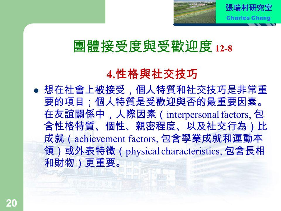 張瑞村研究室 Charles Chang 20 團體接受度與受歡迎度 12-8 4. 性格與社交技巧 想在社會上被接受,個人特質和社交技巧是非常重 要的項目;個人特質是受歡迎與否的最重要因素。 在友誼關係中,人際因素( interpersonal factors, 包 含性格特質、個性、親密程度、以