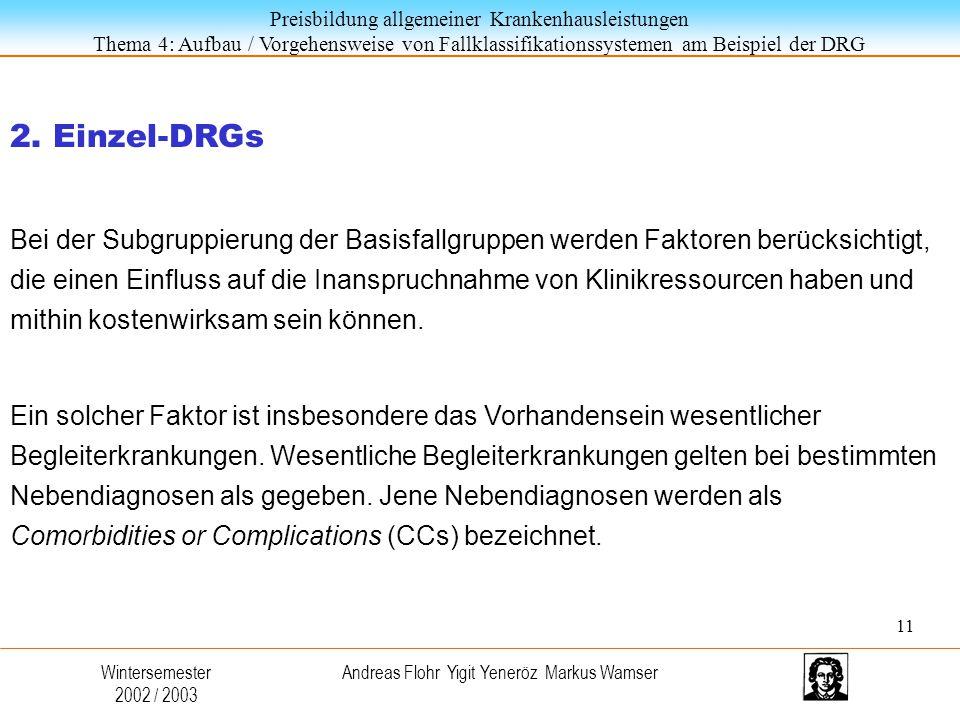 Preisbildung allgemeiner Krankenhausleistungen Thema 4: Aufbau / Vorgehensweise von Fallklassifikationssystemen am Beispiel der DRG Wintersemester 2002 / 2003 Andreas Flohr Yigit Yeneröz Markus Wamser 2.