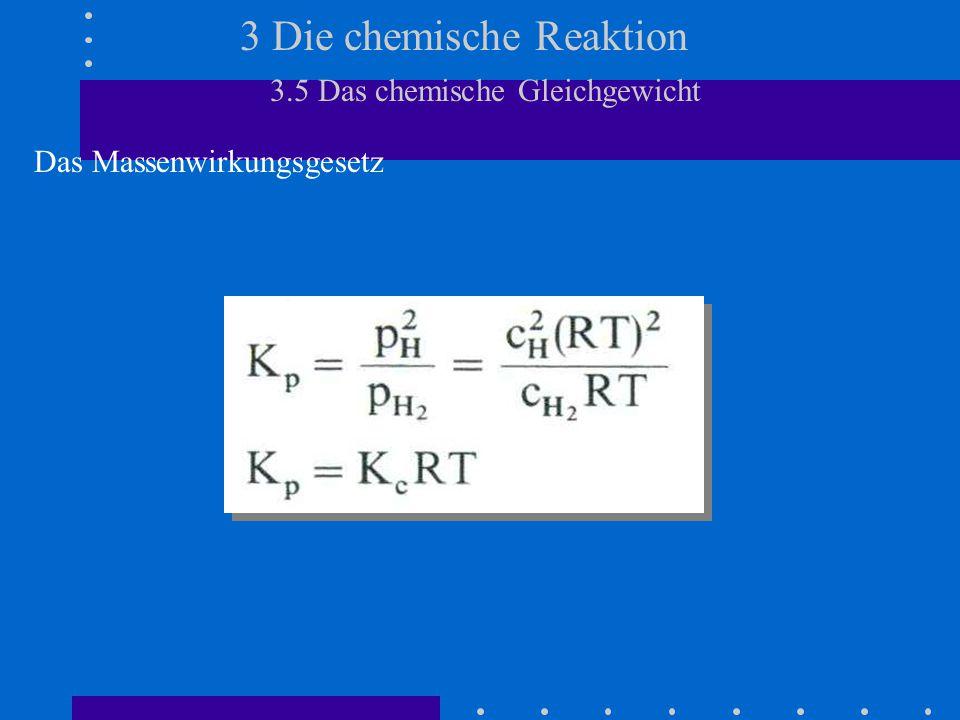 3 Die chemische Reaktion 3.5 Das chemische Gleichgewicht Das Massenwirkungsgesetz