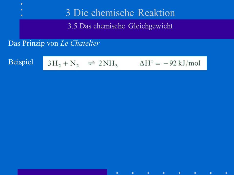 3 Die chemische Reaktion 3.5 Das chemische Gleichgewicht Das Prinzip von Le Chatelier Beispiel