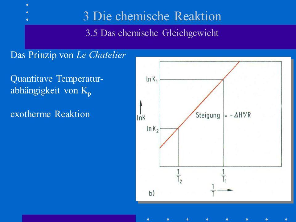 3 Die chemische Reaktion 3.5 Das chemische Gleichgewicht Das Prinzip von Le Chatelier Quantitave Temperatur- abhängigkeit von K p exotherme Reaktion